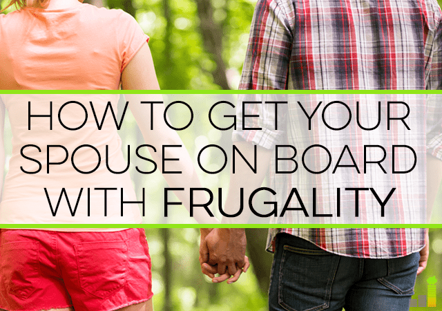 "Having trouble getting your spouse on board with frugality? These are the tips I used to get my husband over to the ""saver"" side."