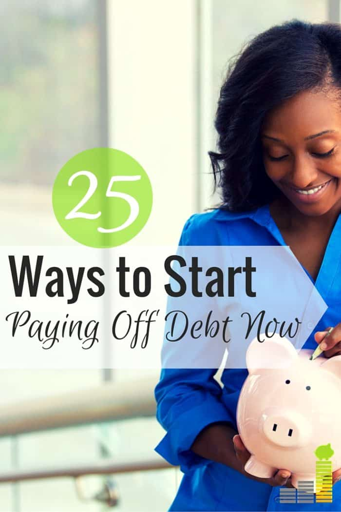 Paying off debt can be difficult to do, especially when you don't know where to start. Here are 25 ways to take that first step toward being debt-free.