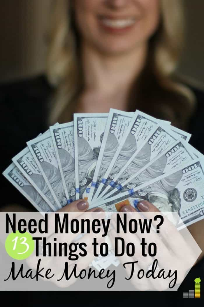 I need money now is a common feeling by many to make ends meet. Here are 13 ways to get money today that will help you pay a bill or put extra money in your wallet.