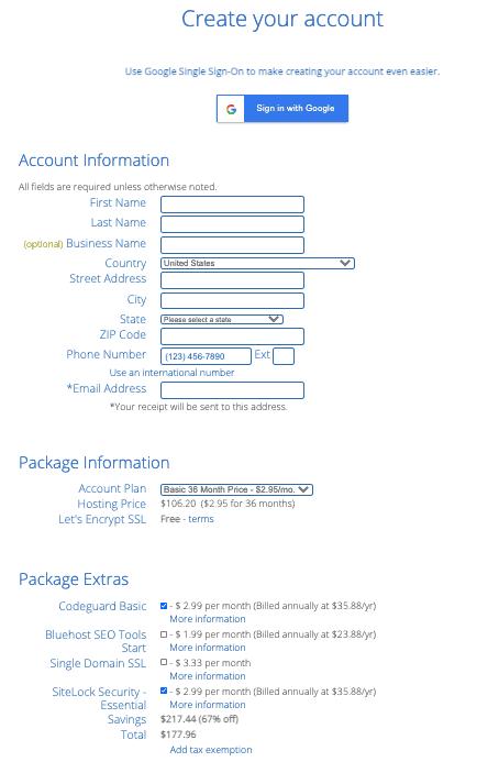 Bluehost info
