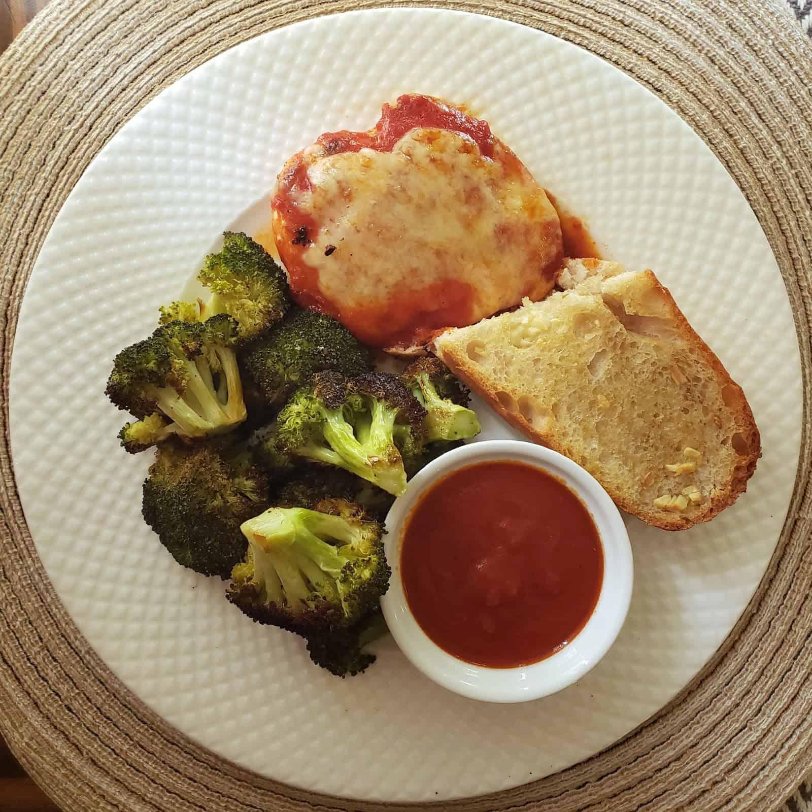 Chicken Parm with Roasted Broccoli & Garlic Bread
