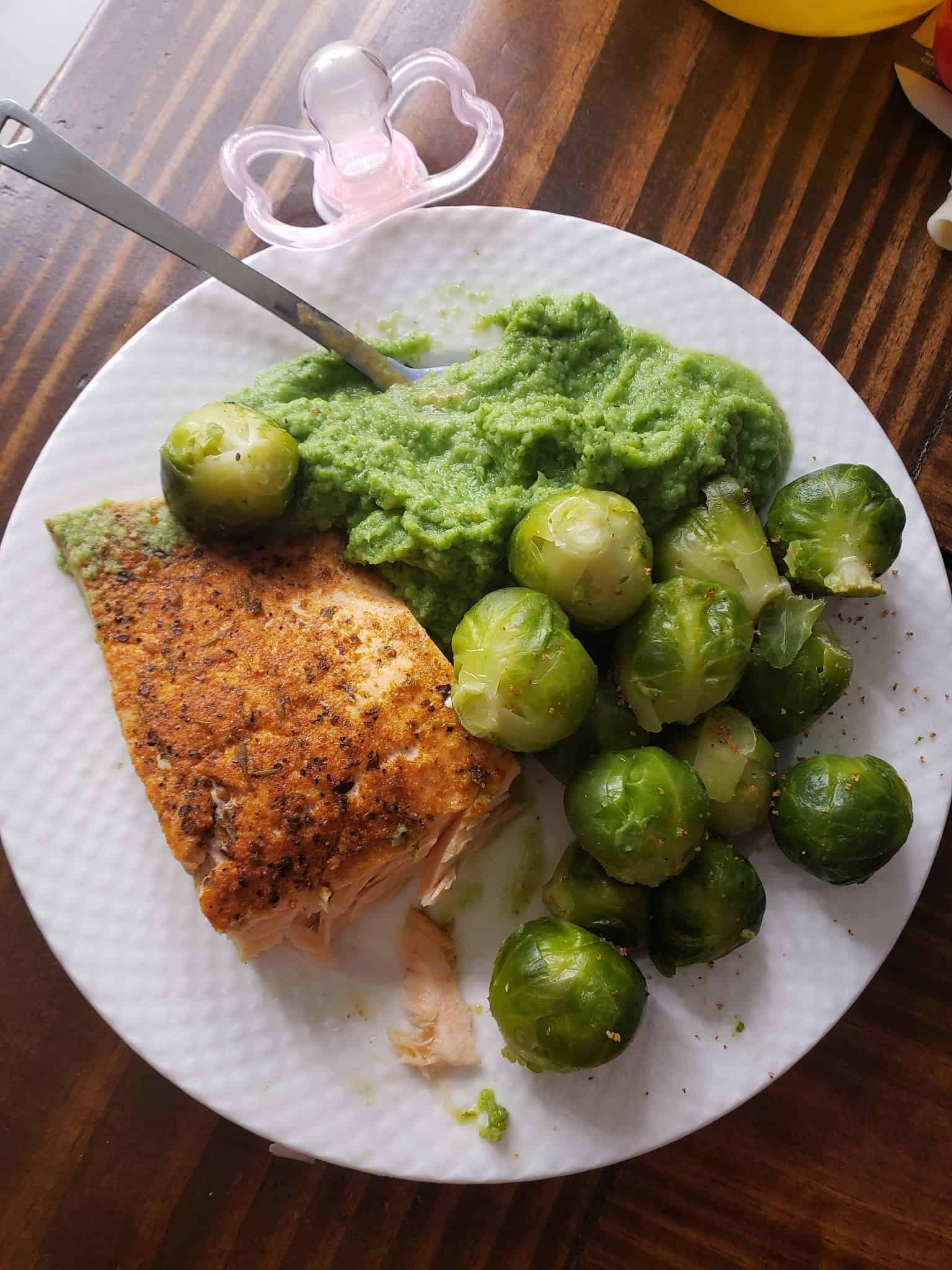 Blackened Salmon on Spinach Cauliflower Puree, Brussels Sprouts