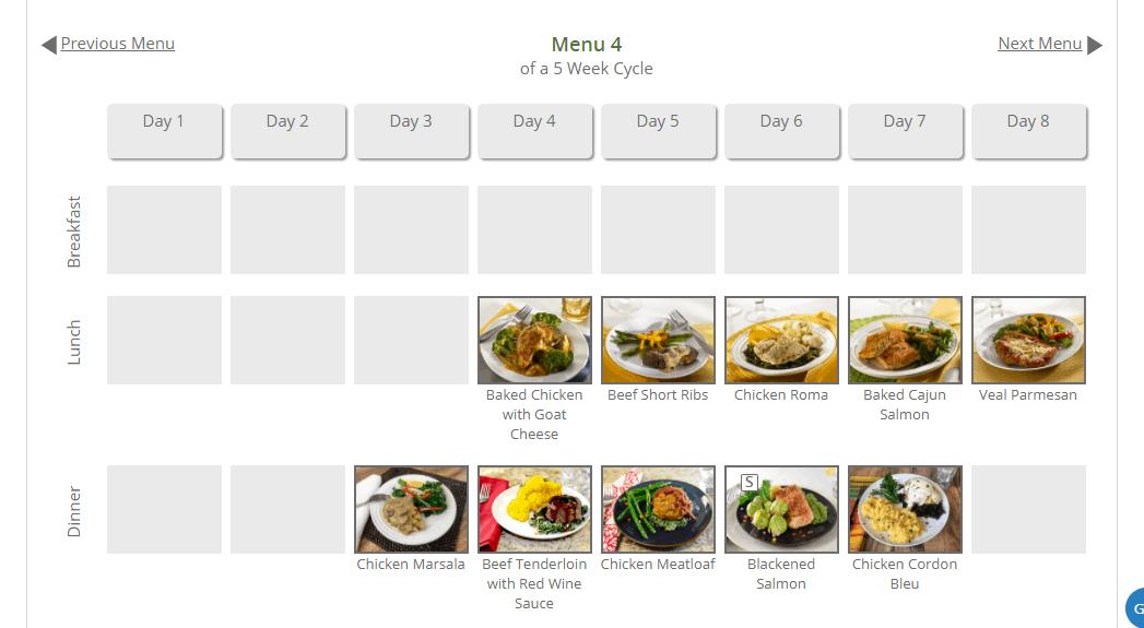 Meal menus