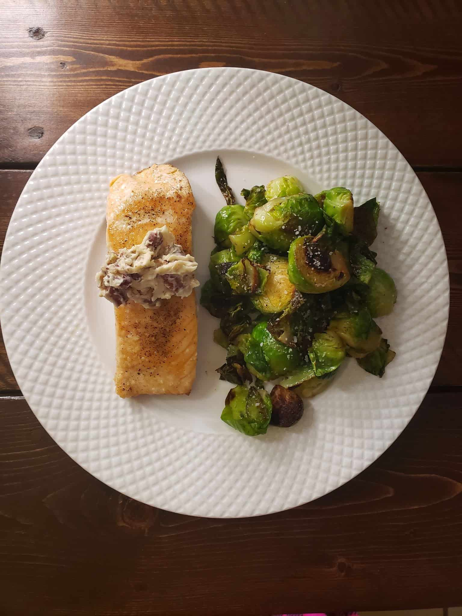 Pecan Butter Salmon and Herbed Green Beans with Caramelized Onions