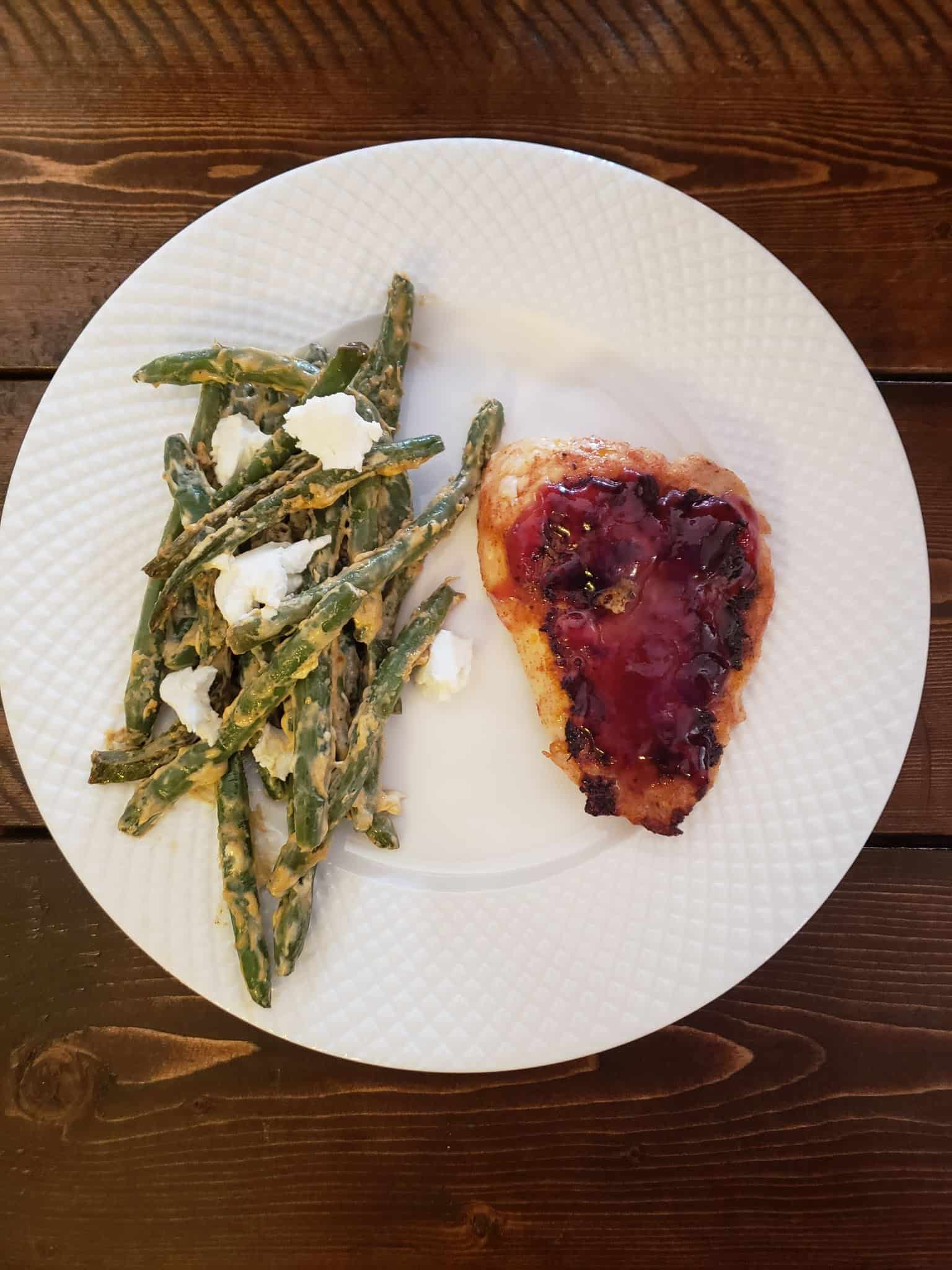 Grill-Ready Ancho Cherry Grilled Chicken with Goat Cheese Green Beans
